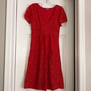 Red Anthropologie floral lace dress